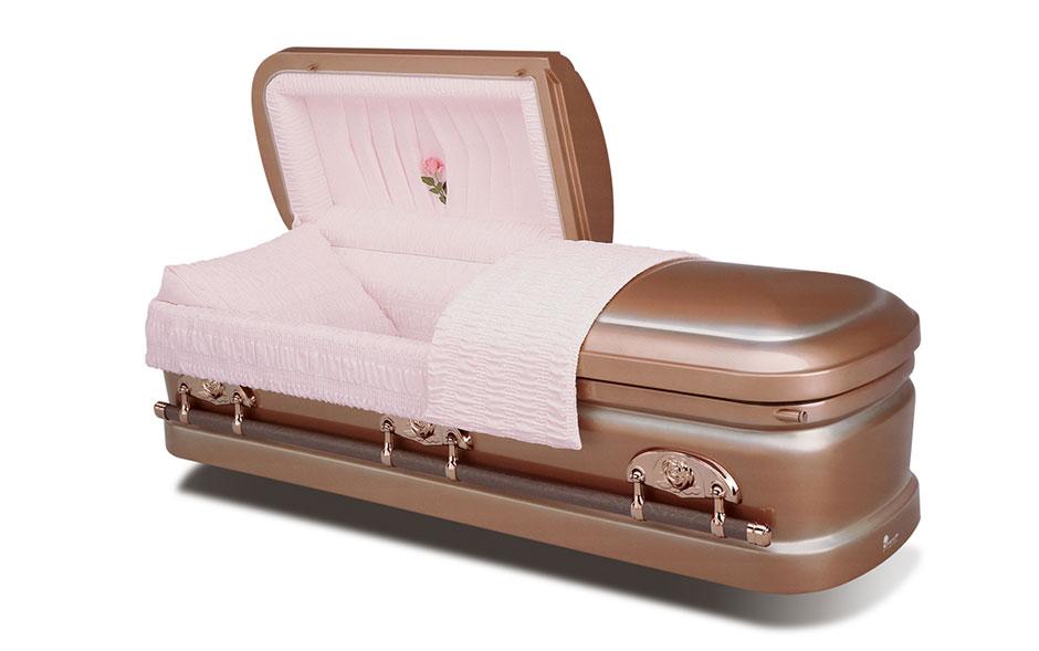 funeral casket silver rose